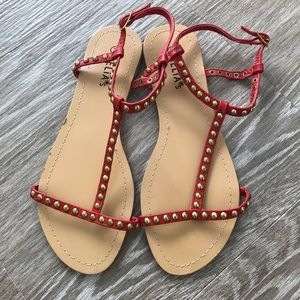 Studded Red Sandals